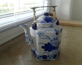 Vintage Asian Hexagonal Cobalt Blue and White Handpainted Teapot with Solid brass handle Traditional Chinese Teapot