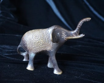 vintage brass elephant figurine, miniature brass animal, lucky elephant trunk up, boho decor, mid century