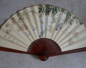 Vintage Fan Large fan, Chinese Hand Painted Fan on silk, calligraphy, butterflies blossom tree, circa late 1950, wall decor