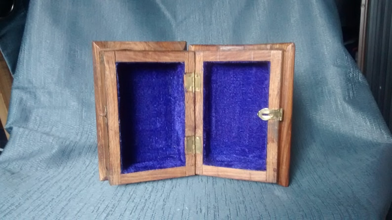 wood jewelry box with brass and copper design Vintage