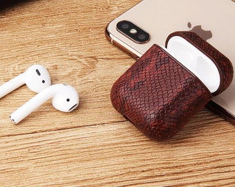 5c76a756904 Premium Luxury Series Custom Leather Case for Apple AirPods 1 & 2 Supports  Wireless Charging Airpods Snakeskin Pods Earpiece/ Gift ideas