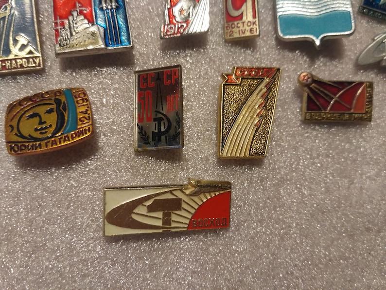 Space theme Set of 16 Soviet vintage pin badges Vostok Sputnik moon rover Baikonur made in USSR Mars 1970s