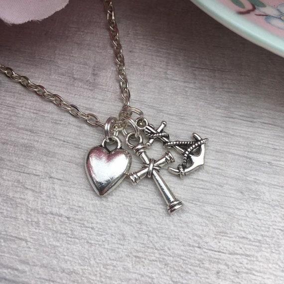 Sterling Silver Faith Hope Love Charity Cross Anchor Heart Dangle Charm Bead For Bead Charm Bracelet