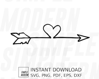 Hand Drawn Arrow With Heart SVG Files, Boho Split Arrow SVG, Instant Digital Download Vector Files, Love Valentines Printable ClipArt
