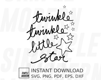 Twinkle Twinkle Little Star SVG Files for Cutting, Transparent PNG Instant Download for Sublimation Printing, Handwritten Script and Drawing