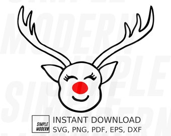 Cute Red Nose Reindeer Face Christmas SVG, Hand-drawn Outline Deer Portrait Vector Cut File, Personal and Commercial Use, Digital Download