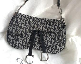 53a8918c6d96 Vintage Authentic Christian Dior Double Saddle Bag