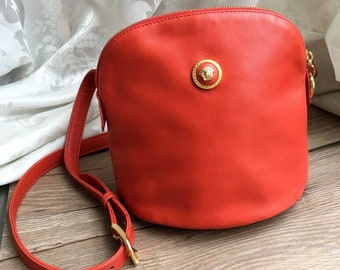 71588e05 Vintage Authentic Versace Medusa Orange Leather Shoulder Bag