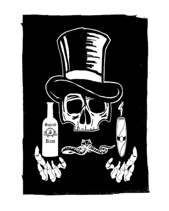 Occult witchcraft wicca death skeleton Baron Samedi Voodoo Veve BACK Patch