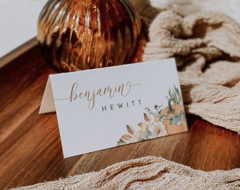 3x2 Folded Tent Cards Editable Fall Place Cards Printable Event Decor Editable PDF Escort Cards Instant Download Autumn Wedding