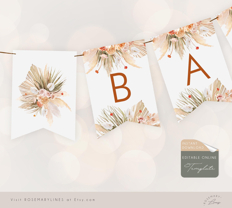 Boho banner template, pampas grass alphabet banner, baby, bridal shower  editable bunting, orange floral printable banner, diy banner #23-23 Pertaining To Bridal Shower Banner Template