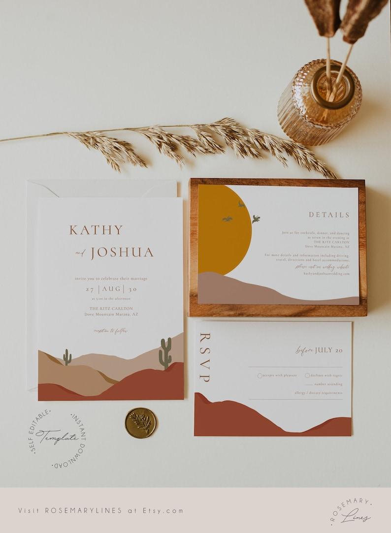 Modern Desert Wedding Invitations