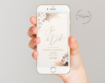 Boho text message save the date template, pampas grass wedding save the date for phone, digital invitations, rose bohemian text invite #091