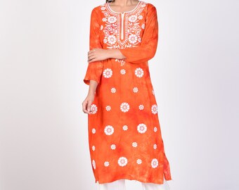 fc048f21c2 Lucknawi Chikan Hand-Embroidered Kurti, Floral Chikankari kurta for women,  Rayon Long Orange Indian Chikan Kurta with tie and dye print