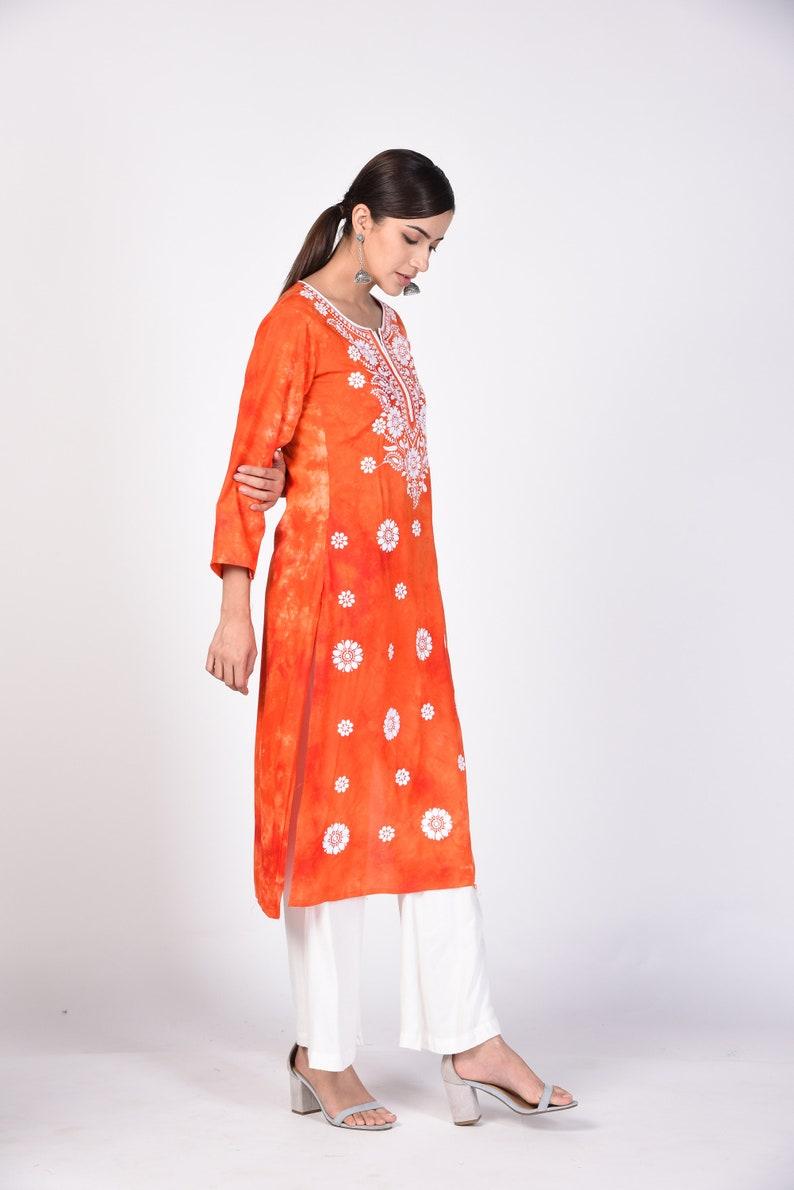 Chikankari kurta for women Rayon Long Orange Lucknawi Chikan Hand-Embroidered Kurti Indian Chikan Kurta with tie and dye print