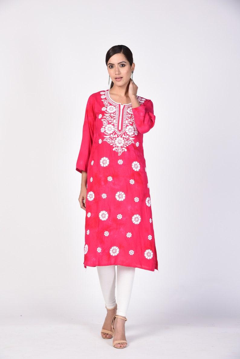 New Indian Lucknawi Chikankari Cotton Kurta Pant Set Ethnic Summer Wear Multi Thread Work Women Chikan Kurta Pant Set Authentic Chikan Kurta