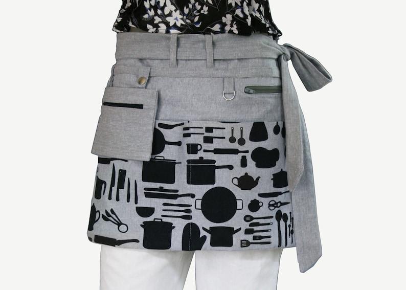 Waist apron PDF sewing pattern  utility apron gathering image 0