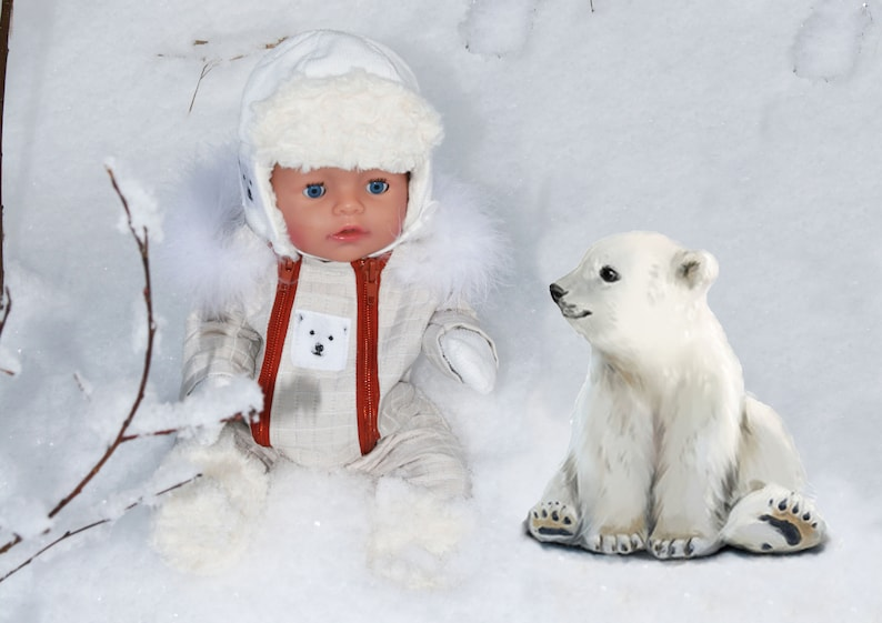 Snowsuit PDF sewing pattern baby doll 44cm 17 1/3 image 0