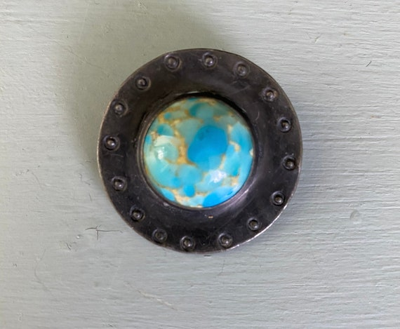 Ruskin Pewter Brooch with Turquoise Cabochon
