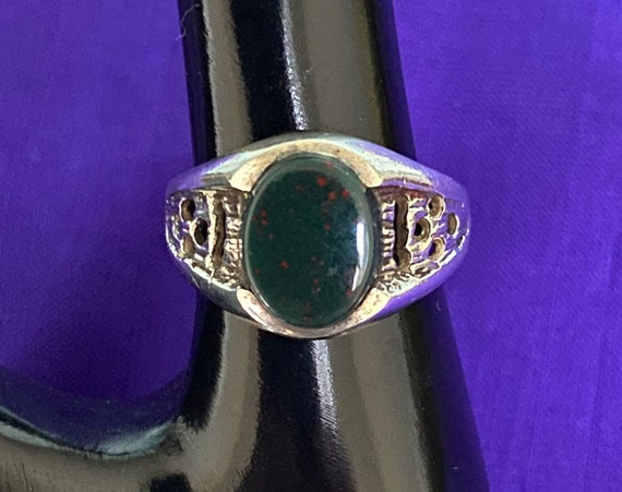 Brutalist Silver and Bloodstone Ring c1970