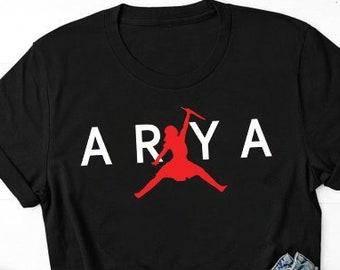 57cb5048d Arya Jump to Air- Game of Thrones Men And Women T-Shirt - Arya stark - GOT  - Air Arya - jordan air