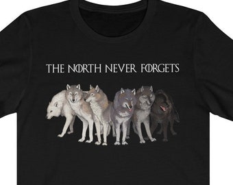 d614ad13981b The North Never Forgets - game of Thrones - Thrones shirt - Never Forgets  shirt - Six Direwolves - winter is coming - Funny Gift