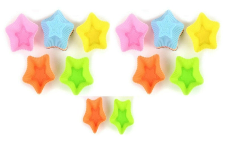 12x Star Silicone Reusable Muffin Cases,Ideal Cupcakes,Muffins,Chocolate