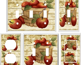Metal Light Switch Plate Cover Country Kitchen Apples Home Decor Apple Decor Switch Plates Outlet Covers Home Garden