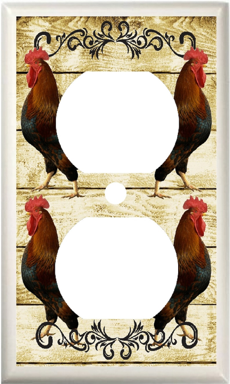 ROOSTER PRIMITIVE COUNTRY KITCHEN LIGHT SWITCH COVER PLATE OR OUTLET V930
