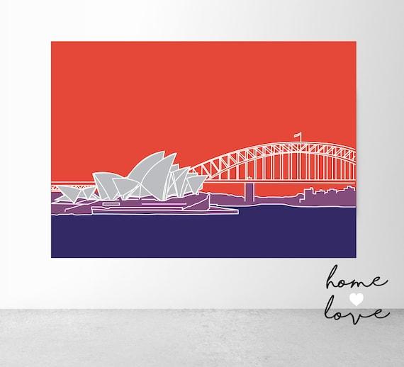 NSW Sydney Block Colour Art Print Digital Print