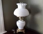 Fenton White Milk Glass Hobnail Lamp Vintage Lighting