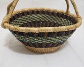 Short Oval Bolga Basket with Leather Handle