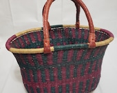 Bolga Basket with leather handles.