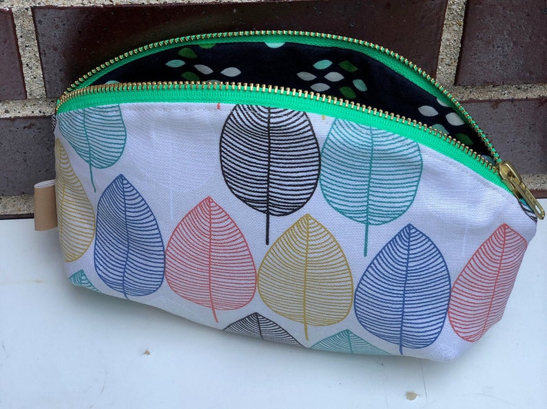Large Petal Pouch Nordic Leaves on Off White Background Zippered Pouches  Pencil case  Project Pouch  Travel Set  Gift Set