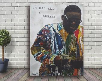 41eb551e803 Biggie Smalls, Biggie, It Was All A Dream, Coogi Sweater, Oil Painting Print,  Mixed Media, 3D Materials, Hip Hop, Rap, Signed, Wall Art