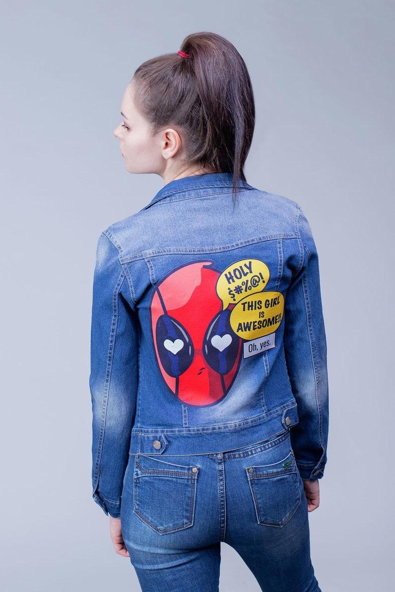 Deadpool Jean Denim Jacket Superhero Marvel Custom Girl Blue Clothing Style 1