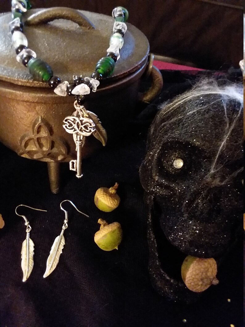 and metal necklace and earring set What the Familiar Knew crystal glass