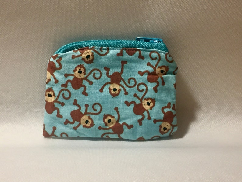 Spiffy Pooches Handmade Coin Purse  Zipper Pouch Credit Card Pouch Chapstick Holder Monkey On Blue