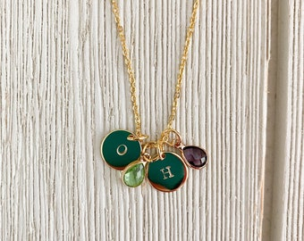 Personalized Birthstone Bangle Necklace, Initial Birthstone Necklace, Mother's Necklace, Family Necklace, Birthstone Charm Necklace
