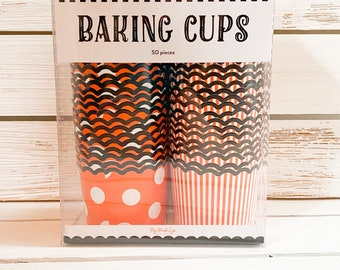 Halloween Cupcake Wrappers, Halloween Baking Supplies, Orange Polka Dot Party Decorations, Spooky Party Decorations