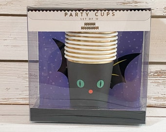 Halloween Paper Cups, Halloween Party Bat Cups, Halloween DIY Paper Cups, Bat Cups