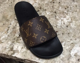 63246cfccc64 Custom Louis Vuitton Slides