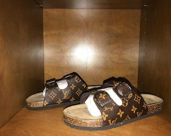 dada57c8d417 Custom Louis Vuitton Birkenstock Style Sandals