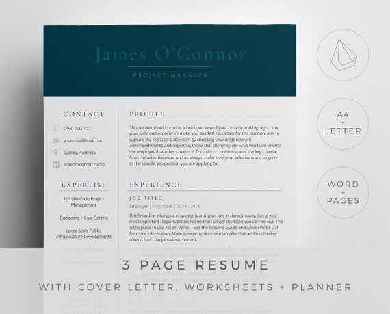 Project manager resume template for Word and Pages in a simple and  professional design. 3 page resume, cover letter, references and icons