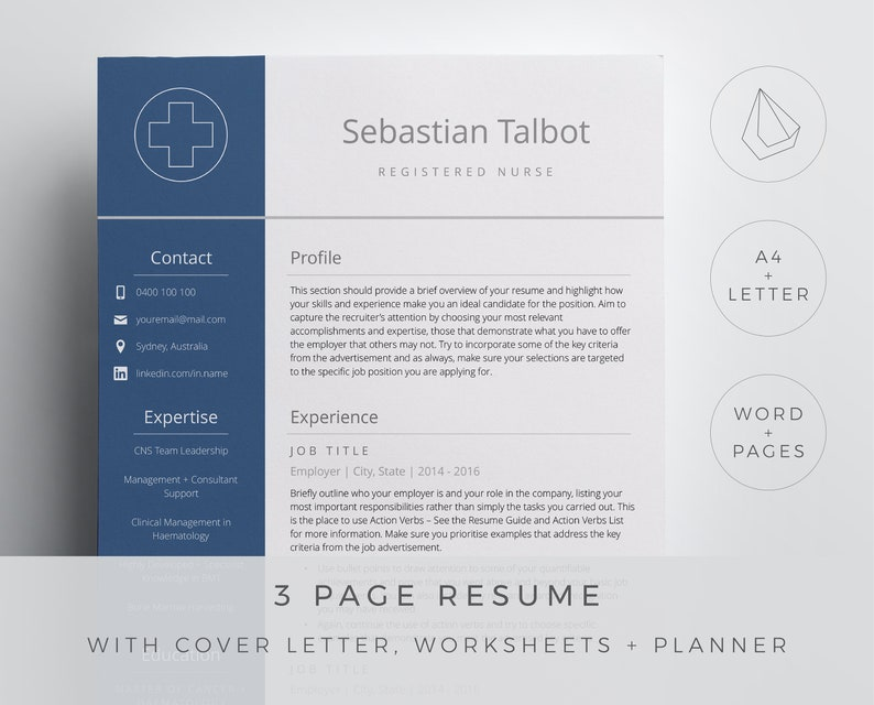 icons 3 page resume references cover letter Registered nurse resume template for Word and Pages in a simple and professional design