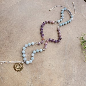 Mala Necklace Ethnic Jasper Ceramic Beads 108 Mala Hand Knotted Mala Buddhist Prayer Beads Amethyst Yoga Necklace Japa Mala Coral