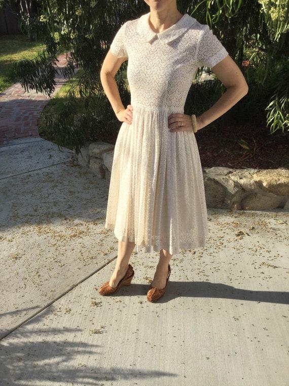 Vintage Cream Cotton Eyelet Dress