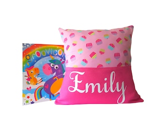 Personalised 'Cupcakes' Story/Book/Reading/Pocket Cushion with FREE Children's Book! - Unique Children's gift - Free UK Postage!