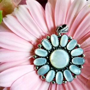 Blest Jewellery-Pink Mother of Pearl Flower Pendant 925 Sterling Silver