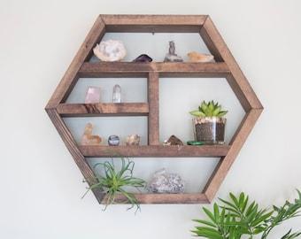 Floating Hexagon Shelf - Honeycomb Hexagon Shelves - Essential Oil Shelf - Crystal Shelf Display - Metaphysical Tools - Geometric Shelf